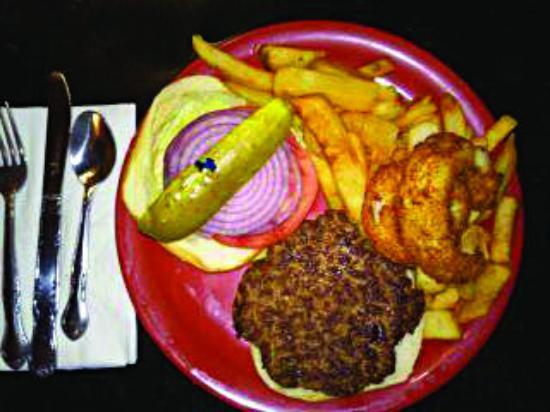 Andy's Diner: My exceptional hamburg platter with delicious sweet onion rings and the best fries.