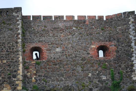 Carrickfergus, UK : Cannon poking through firing portal.