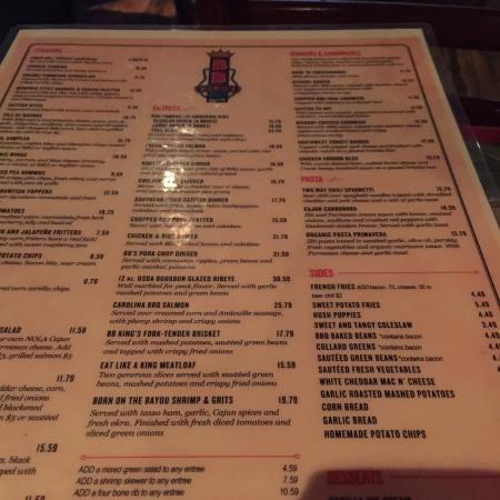 menu - Picture of B B  King's Blues Club, Memphis - TripAdvisor