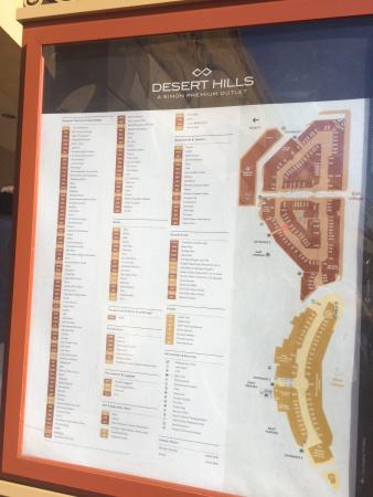 Map of the mall Picture of Desert Hills Premium Outlets Cabazon