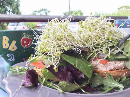 Pahoa, HI: ベーグルサンド。たっぷりの野菜が盛られてます。