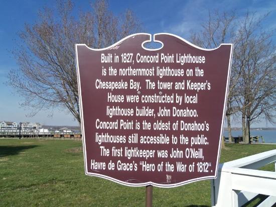 Havre de Grace, MD: Concord Point Lighthouse & Park  sign
