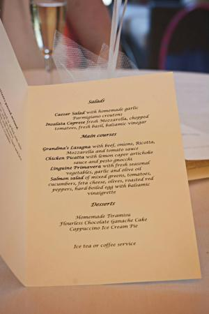 piola selected menu at bridal shower