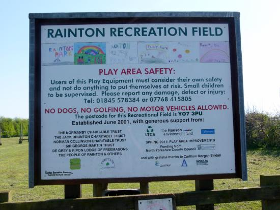 Rainton, UK: Attraction Sign