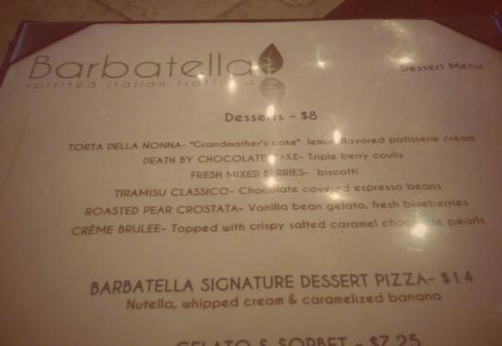 Barbatella: Dessert Menu Amazing!