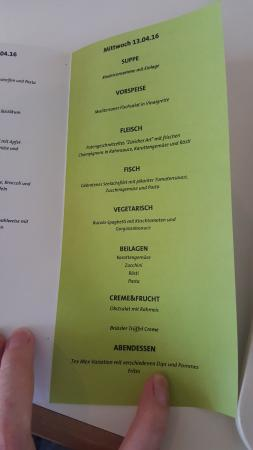 Budenheim, Alemania: Daily menu