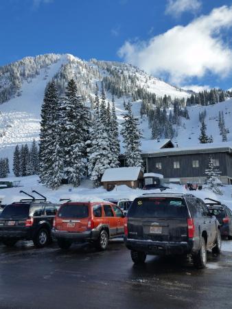Alta, UT: Lower parking lot - High Rustler on the left