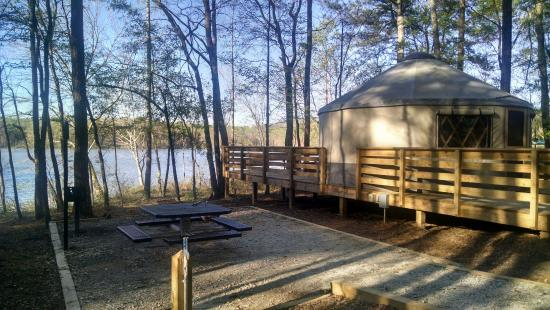 side view of yurt 8 showing water spigot picnic table grill and rh tripadvisor com