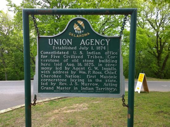 Muskogee, OK: Union Agency Historical Marker at the Five Civilized Tribes Museum
