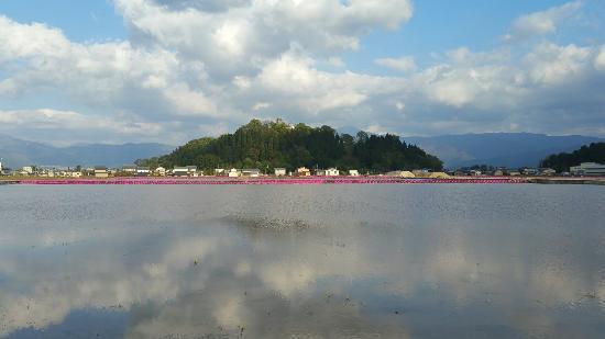 Ono, Japón: 春の田植前の水田に映り込む越前大野城 湖に浮かぶ亀山と大野城が楽しめ 雲に挟まれた姿も又良いものです