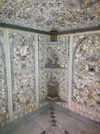 The Cilwendeg Shell House Hermitage: One corner with owl made of shell