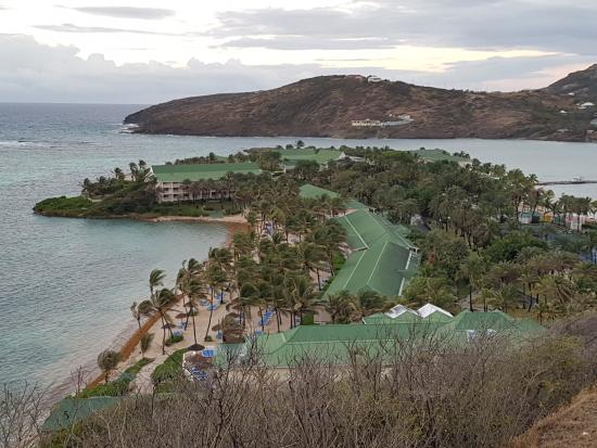 St. James's Club: View of resort from top of hill. Coco's beach on left, Mamora beach on right