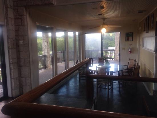 The Lodge at Fossil Rim: Perigrine room had own fireplace. Another bedroom, dining area, window view -all at Lodge