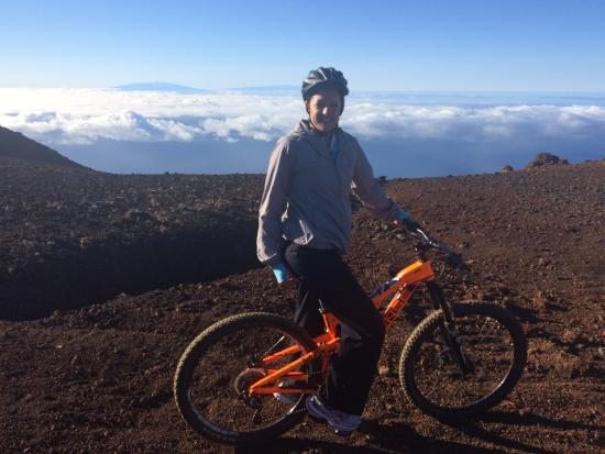 Makawao, HI: Our skyline mountain bike route down the Haleakala Volcano. What an exhilarating experience....
