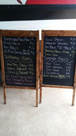 Wayne's Sushi: Ths is a typical menu but it may have daily specials.