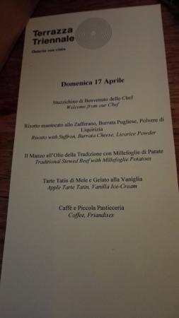 Menù Fisso Cena Aziendale Picture Of Terrazza Triennale