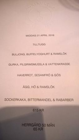 middag menu