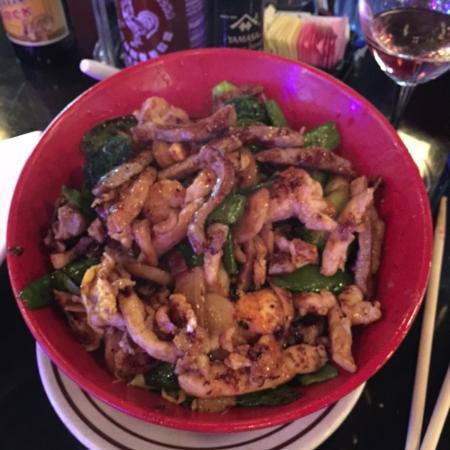 Mongolian Combo classic stir-fry at Tomball's Super Yummy Mongolian Grill
