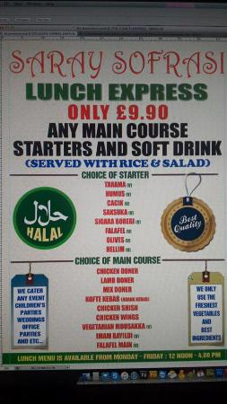 Ilford, UK: lunch menu