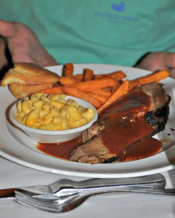 Jackson, MS: Monday special- beef brisket with mac & Cheese and sweet potato fries