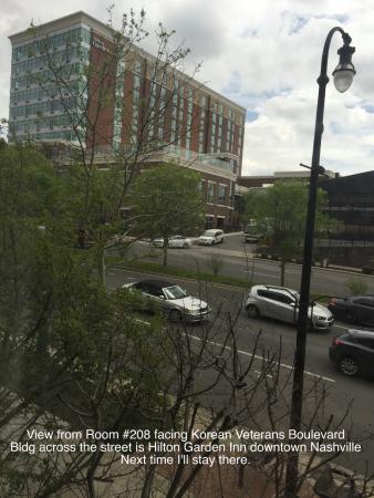 Hampton Inn & Suites Nashville - Downtown: View from #208 looking across Korean Veterans Bld at The Hilton Garden Inn
