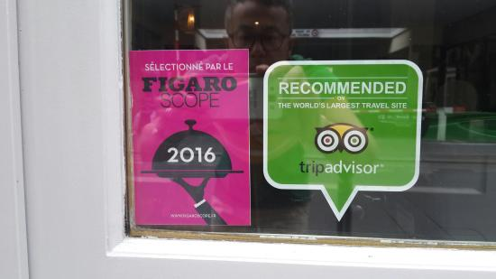 Chez alfred lao cuisine 2016 figaroscope selection and recommanded tripadvisor stickers received today