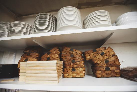 The Hancock Inn: Baskets and boards await house baked breads.