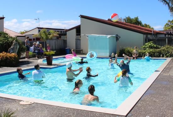 Fern Motel : Large outdoor pool with thermal cover