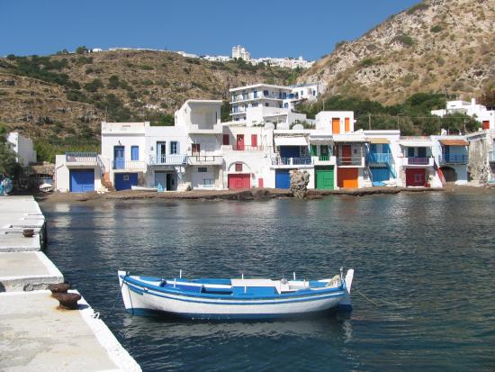 Klima, Grecia: Symra House - the one with the light blue door on the left