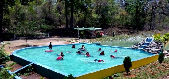 By playing in pool you can beat the heat picture of dandeli kingfisher jungle stay dandeli for Kingfisher swimming pool prices