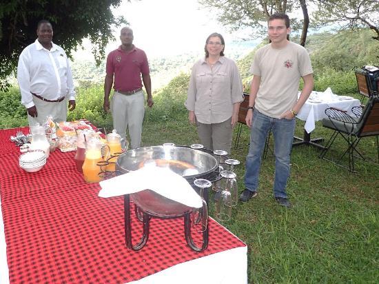 Lake Manyara National Park, Tanzania: John and his staff with our personal breakfast buffet