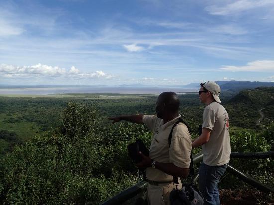 Lake Manyara National Park, Tanzania: Taking the nature walk with a guide on the rift wall