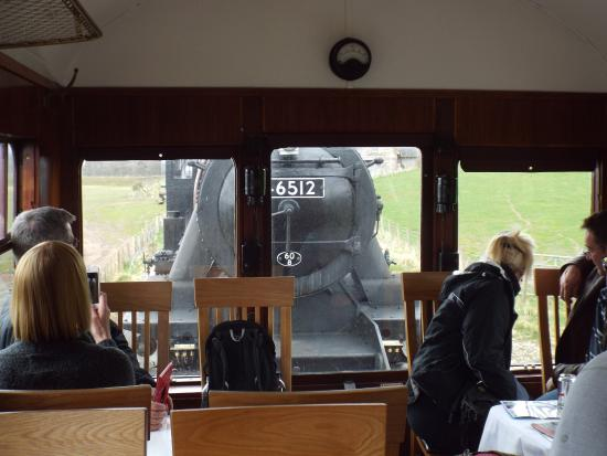 Aviemore, UK: View of the locomotive coupling to the train from the Observation Saloon
