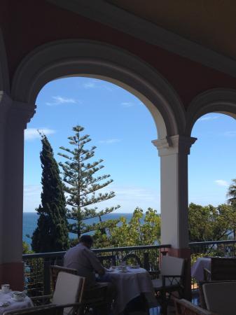 Having tea on the terrace.
