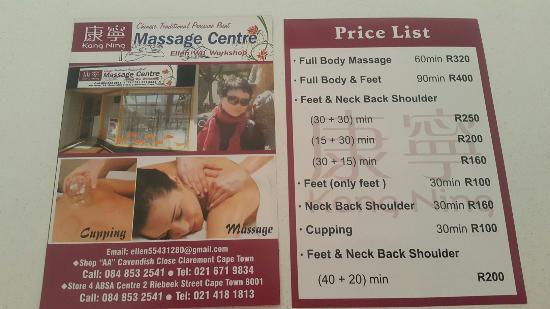 Claremont, Afrika Selatan: Elle is a Chinese lady running her spa on 1st floor of Cavendish place. Ample parking. She is tr