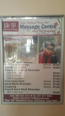 Claremont, África do Sul: Elle is a Chinese lady running her spa on 1st floor of Cavendish place. Ample parking. She is tr