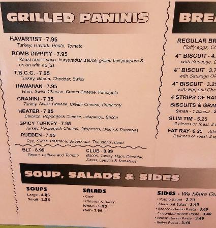 Roseburg, OR: Panini menu