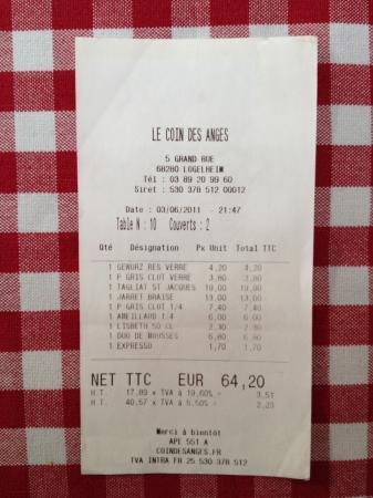 Hotel Restaurant Le Coin Des Anges : Rechnung