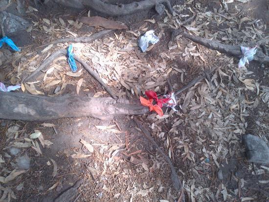 gruta de los panuelos en el piso en las raices atan los pauelos