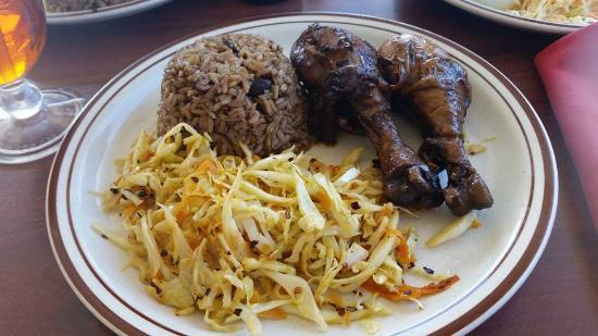 North Caicos: beans/rice, jerk chicken, cabbage
