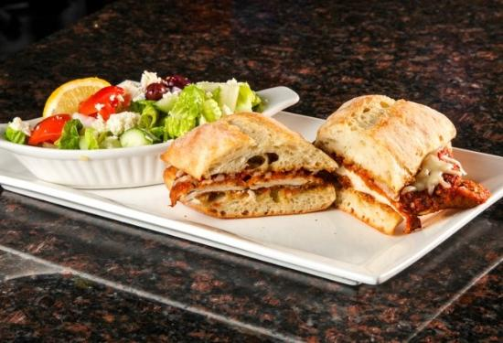 Symposium Cafe Restaurant & Lounge: Chicken Parmesan Sandwich and Salad