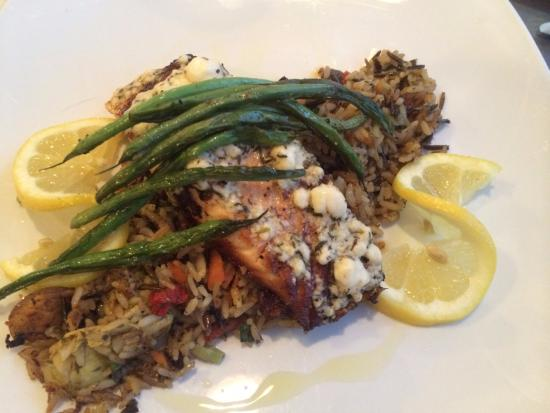 Iron Mountain, MI: Feta encrusted wild Canadian salmon