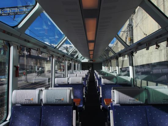 train interior with big windows picture of glacier express zermatt tripadvisor