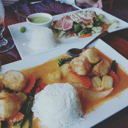 Moss Landing, CA: Sea scallops, sesame crusted ahi, and crab cakes