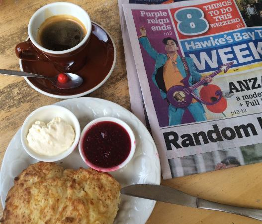 Otane, นิวซีแลนด์: Local coffee, great scone and a copy of the local paper to browse as you relax