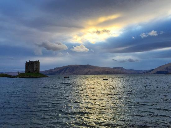 Appin, UK: Castle Stalker at sunset