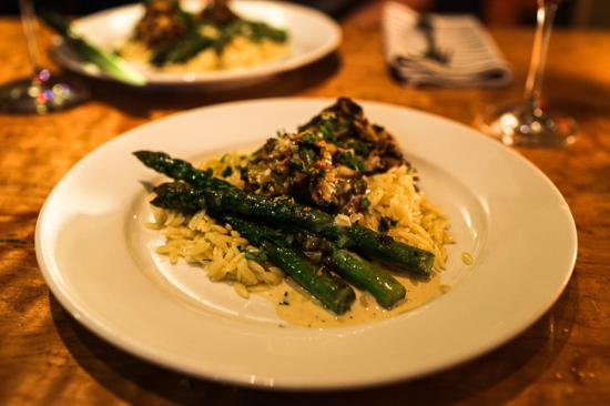 Table 128: Orzo Pasta with Mushrooms, Asparagus and Mustard Caper Cream. AMAZING!