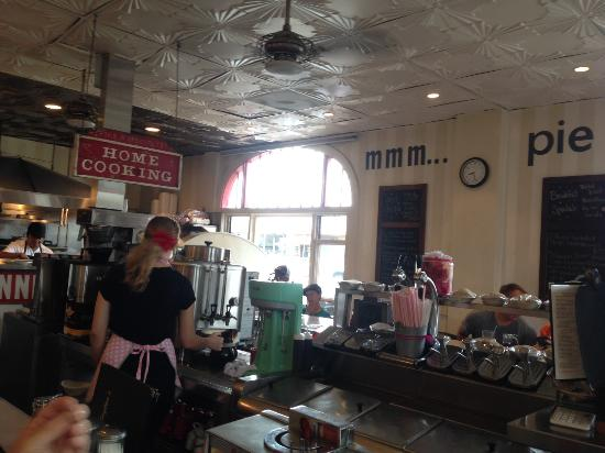"""Clayton's Coffee Shop: classic U shaped counter, pies are great as are there """"real"""" shakes"""