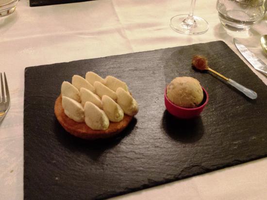 Le Jardin des Frênes : Tarte mousse marron, glace marron, crème de marron