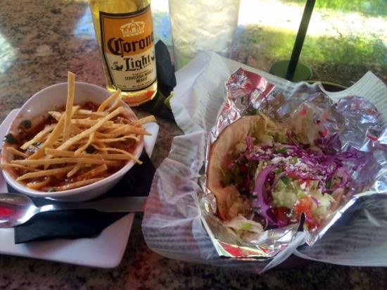 Yucatan Taco Stand: Bowl of Tortilla Soup, Tacos, beer & water